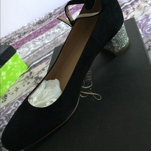 J.Crew Black and Silver Heel Shoes